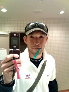 成田で歯磨き。